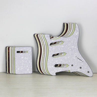 FLEOR Set of No Hole Guitar Pickguard Strat SSS Back Plate | iknmusic