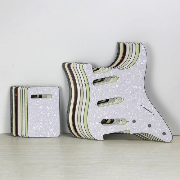 FLEOR Set of NO Mounting Hole SSS Guitar Pickguard & Back Plate & Screws for Guitar Parts Custom,10 Colors Available