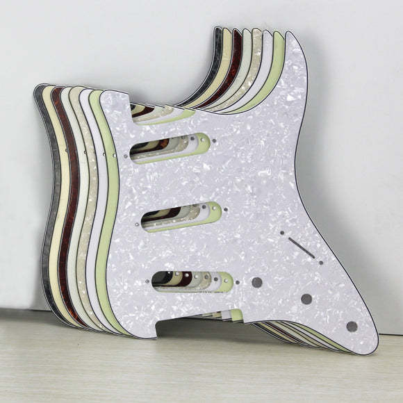 FLEOR NO Mounting Hole Guitar Pickguard SSS Scratch Plate & Screws for Guitar Parts Custom,10 Colors Available