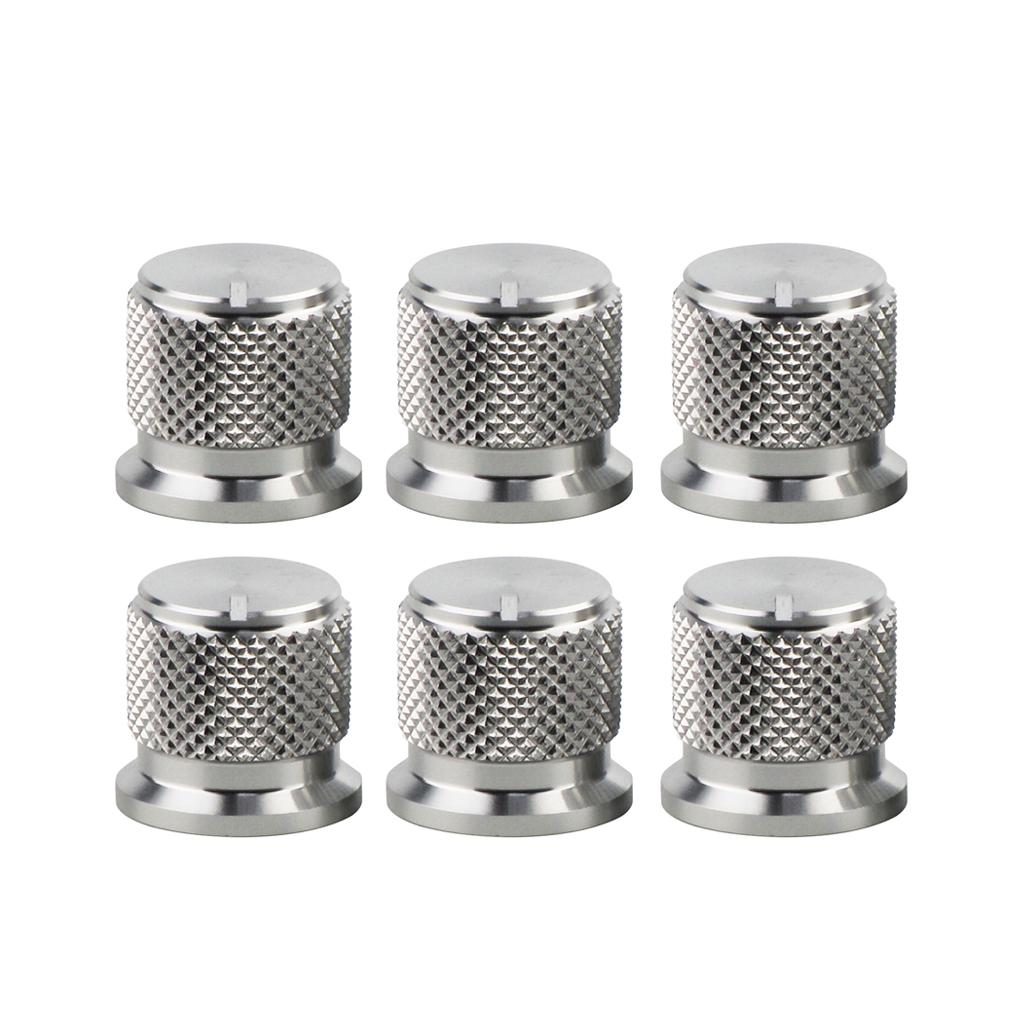 FLEOR  6pcs Aluminum Amplifier Amp Effect Pedal Knobs Potentiometer Speed Control Knobs Silver - iknmusic
