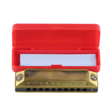 Load image into Gallery viewer, Huang 103 Series Silvertone Deluxe Blues Diatonic Harmonica 10 Hole 20 Tone Mouth Organ ,Bronze Color,Key of A,F,G,E Available - iknmusic