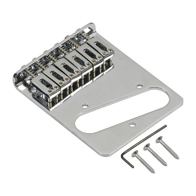 FLEOR Chrome Electric Guitar Bridge Adjustable 6 Saddles Bridge for Tele Guitar Parts - iknmusic