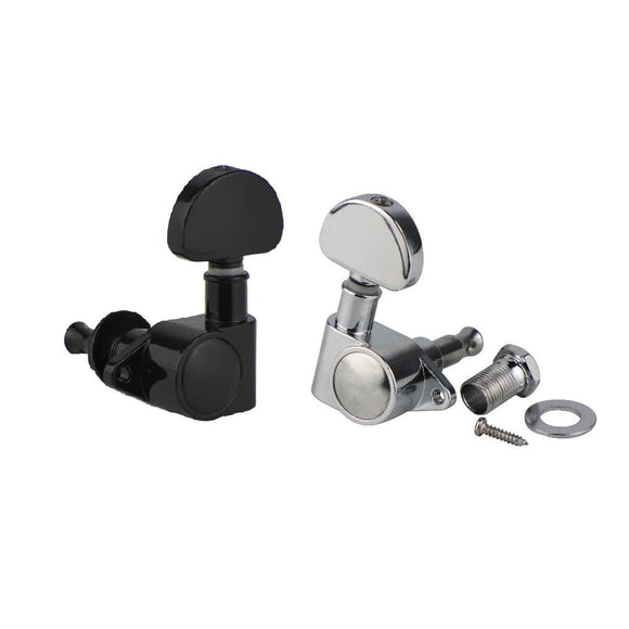 FLEOR Grover Style Sealed Guitar Machine Heads Tuning Pegs Keys,1L1R/3L3R ,Chrome/Black - iknmusic