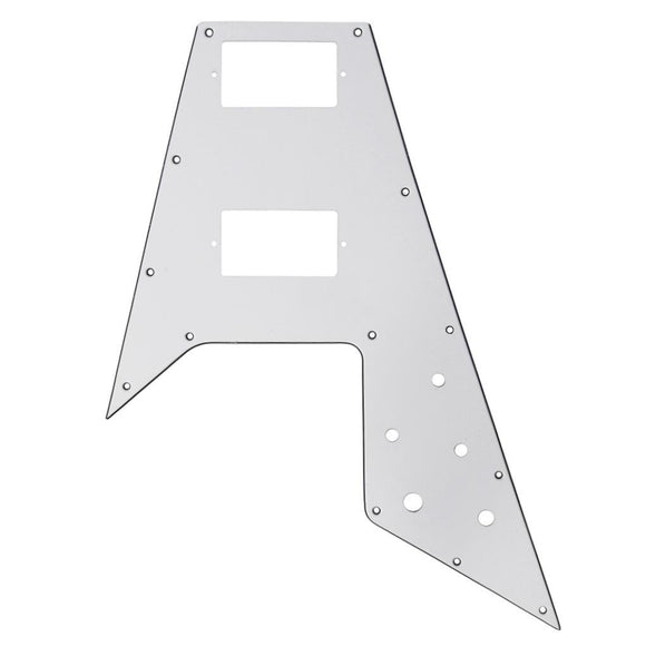 FLEOR Fly Flying V Guitar Pickguard Scratch Plate White 3Ply with Screws for Guitar Parts