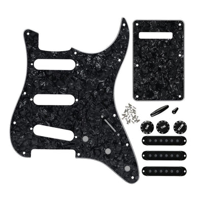 FLEOR 11 Hole SSS Strat Guitar Pickguard Kit Black Pearl | iknmusic