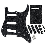 FLEOR Set of 11 Hole SSS Strat Guitar Pickguard Back Plate & Pickup Covers Knobs Switch / Whammy Bar Tip Guitar Accessories ,Black Pearl - iknmusic