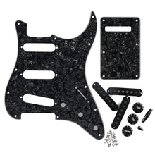 Load image into Gallery viewer, FLEOR Set of 11 Hole SSS Strat Guitar Pickguard Back Plate & Pickup Covers Knobs Switch / Whammy Bar Tip Guitar Accessories ,Black Pearl - iknmusic