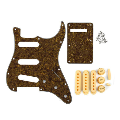 FLEOR Guitar Accessories Set of Brown Pearl 11 Hole SSS Strat Guitar Pickguard Back Plate & Pickup Covers Knobs Switch Whammy Bar Tip - iknmusic