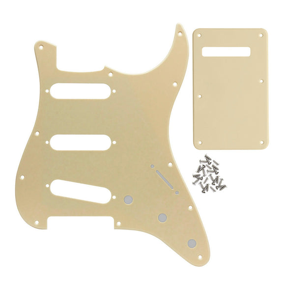 FLEOR Set of SSS Guitar Pickguard Back Plate Tremolo Cover 1Ply PVC with Screws for Mexican/American Standard 11 Holes Strat Guitar
