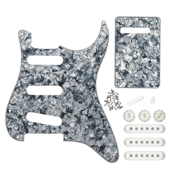 FLEOR 11 Hole Strat SSS Guitar Pickguard Back Plate Set with Pickup Covers Knobs Switch Whammy Bar Tips for Electric Guitar Parts Grey Pearl 4ply - iknmusic