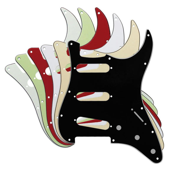 FLEOR 3Ply PVC SSS Guitar Pickguard Scratch Plate with Screws for Mexican/USA Standard 11 Holes Strat Guitar - iknmusic