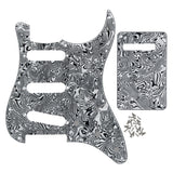 FLEOR Set of Celluloid Strat SSS Electric Guitar Pickguard & Back Plate 4Ply & Screws for 11 Holes Strat Guitar Parts,11 Colors Available