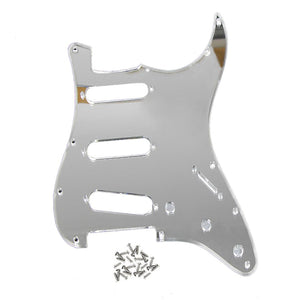 FLEOR 1Ply Mirror Pickguard Strat SSS Electric Guitar Scratch Plate with Screws for 11 Holes Strat Guitar Parts - iknmusic