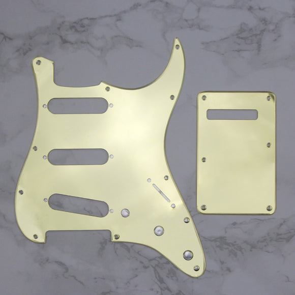 FLEOR Set of 1Ply Mirror 11 Holes Strat Guitar Pickguard SSS & Back Plate with Screws for Electric Guitar Parts
