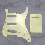 FLEOR Set of 1Ply Mirror 11 Holes Strat Guitar Pickguard SSS & Back Plate with Screws for Electric Guitar Parts - iknmusic