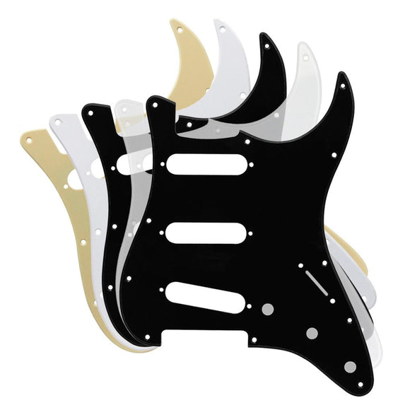 FLEOR 1Ply PVC SSS Guitar Pickguard Scratch Plate with Screws for Mexican/American Standard 11 Holes Strat Guitar - iknmusic