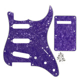 FLEOR Set of Pearloid SSS Pickguard Guitar Cavity Cover with Screws for 11 Holes Mexican/USA Standard Strat Guitar - iknmusic