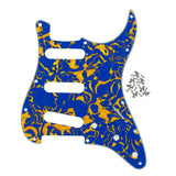 FLEOR Set of Celluloid Strat SSS Electric Guitar Pickguard & Back Plate 4Ply & Screws for 11 Holes Strat Guitar Parts,11 Colors Available - iknmusic