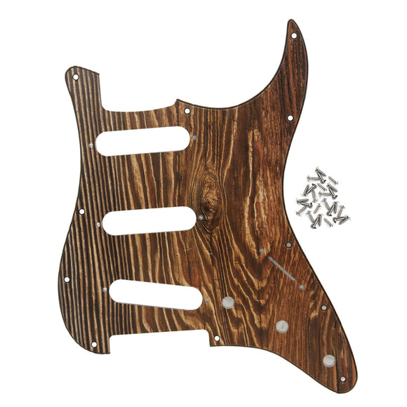FLEOR Wood Color Strat SSS Pickguard Scratch Plate 3Ply PVC with Screws for 11 Holes American / Mexican Modern Standard Strat Guitar Parts