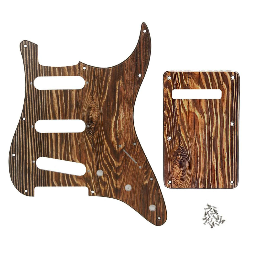 FLEOR Set of Strat SSS Pickguard Scratch Plate & Back Plate with Screws , Wood Color 3Ply PVC - iknmusic