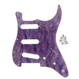FLEOR Set of Shell Color SSS Guitar Pickguard & Back Plate 1ply & Screws for 11 Holes Strat Guitar Parts,3 Color Available - iknmusic