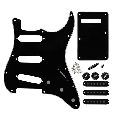 FLEOR 11 Hole Strat Pickguard SSS & Back Plate Black | iknmusic
