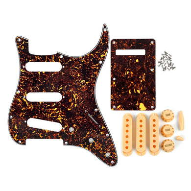 FLEOR Brown Tortoise SSS Pickguard Kit for Strat | iknmusic