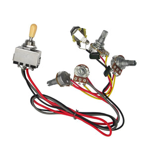 FLEOR Prewired Guitar Wiring Harness 2V2T 3 Way Toggle Switch B500K Pots for LP Style Guitar - iknmusic