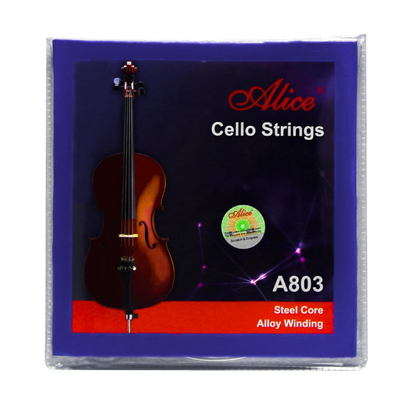 Alice Cello Strings Set A803 Steel Core & Alloy Winding Strings for 4/4 Cellos - iknmusic
