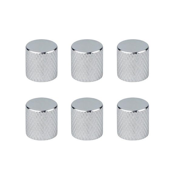 FLEOR 6PCS Flat Top Metal Electric Guitar Bass Volume Tone Speed Control Knobs Chrome - iknmusic