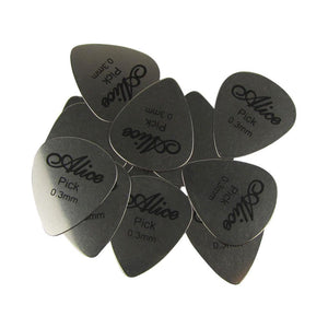 Alice 12Pcs/Pack Stainless Steel Electric Guitar Bass Rock Picks Plectrums 0.3mm Thickness - iknmusic