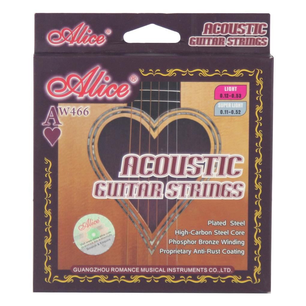 Alice AW466-L Folk Acoustic Guitar Strings Set Phosphor Bronze Wound Light Tension .012-.053 - iknmusic