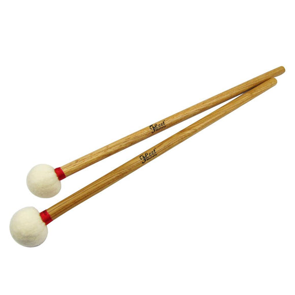 FLEET 1 Pair of Timpani Mallets Drum Mallets Drumsticks Oak Handle & Soft Head for Percussion Instruments Accessories - iknmusic