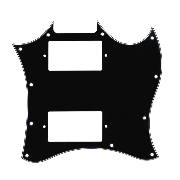 FLEOR Full Face SG Guitar Pickguard Scratch Plate without Bridge Holes Type w/Screws for SG Classic Guitar Parts,3Ply Black - iknmusic