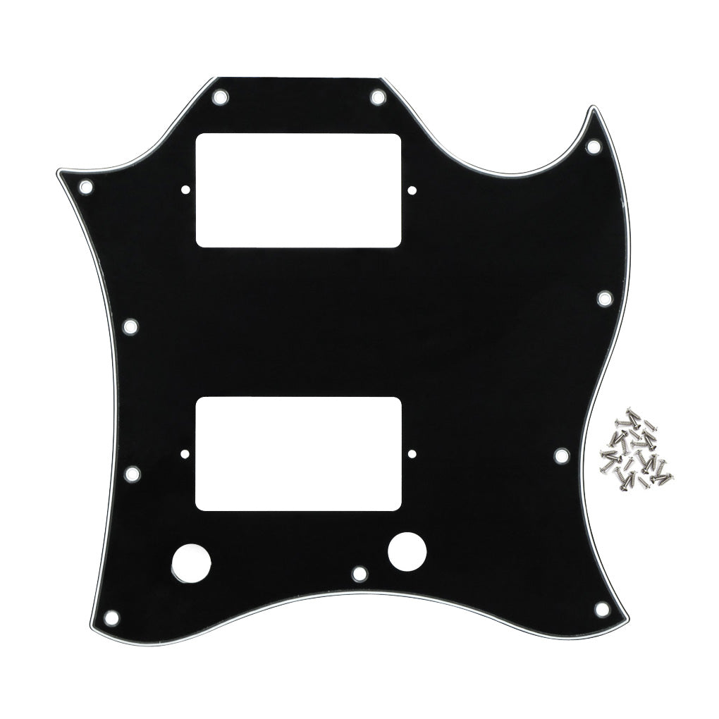 FLEOR Full Face SG Guitar Pickguard Scratch Plate 3Ply PVC w/Screws for SG Guitar Parts , Black/White Available - iknmusic