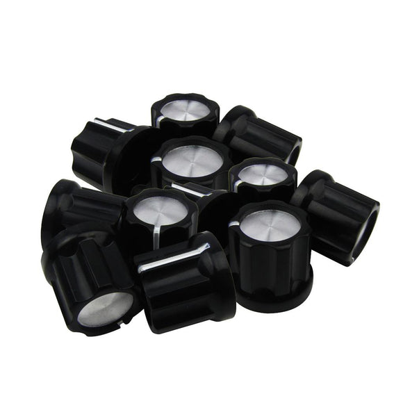 FLEOR 12PCS Black Guitar Bass Amp Knobs Buttons D Shaft Potentiometer Pots Caps 180 Degree / 0 Degree - iknmusic