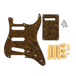 FLEOR Set of Brown Pearl SSS Pickguard Back Plate & Single Coil Pickup Covers Knobs Switch Tremolo Arm Tips for Vintage 8 Hole Strat Guitar Parts - iknmusic