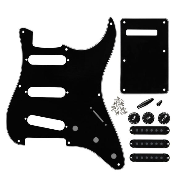 FLEOR Black Vintage 8 Hole Strat SSS Pickguard Back Plate Set with Pickup Covers Knobs Switch Tremolo Arm Tips Guitar Parts - iknmusic