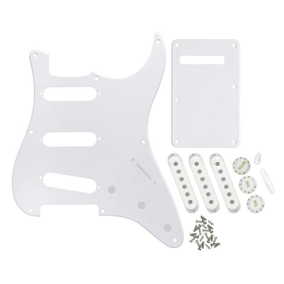 FLEOR 1Ply White Pickguard Back Plate Set with Pickup Covers Knobs Switch Tremolo Arm Tips for Vintage 8 Hole Strat SSS Guitar Parts - iknmusic