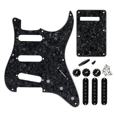 FLEOR 8 Hole SSS Guitar Pickguard Back Plate Set Black Pearl | iknmusic