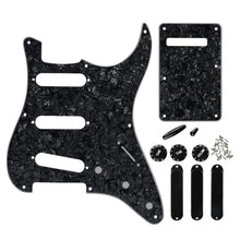 Load image into Gallery viewer, FLEOR 8 Hole SSS Guitar Pickguard Back Plate Set Black Pearl | iknmusic