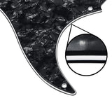 FLEOR Set of Black Pearl Pickguard Back Plate & Single Coil Pickup Covers Knobs Switch Tremolo Arm Tips for Vintage 8 Hole SSS Strat Guitar Parts - iknmusic