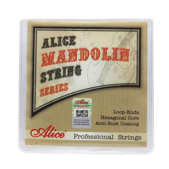 Alice AM08 Mandolin Strings Set Plated Steel & Silver-Plated Copper Wound Strings Super Light Tension