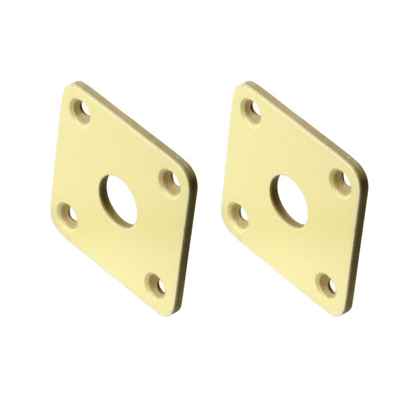FLEOR 2PCS Plastic Electric Guitar Jack Plate Cream for LP Guitar Parts,Made in Korea