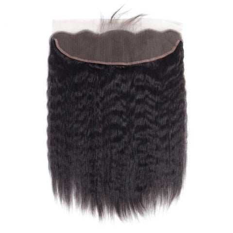 HAIRExecutive Kinky Straight 13 X 4 Frontal Closure 100% Raw Virgin Human Hair Natural Black