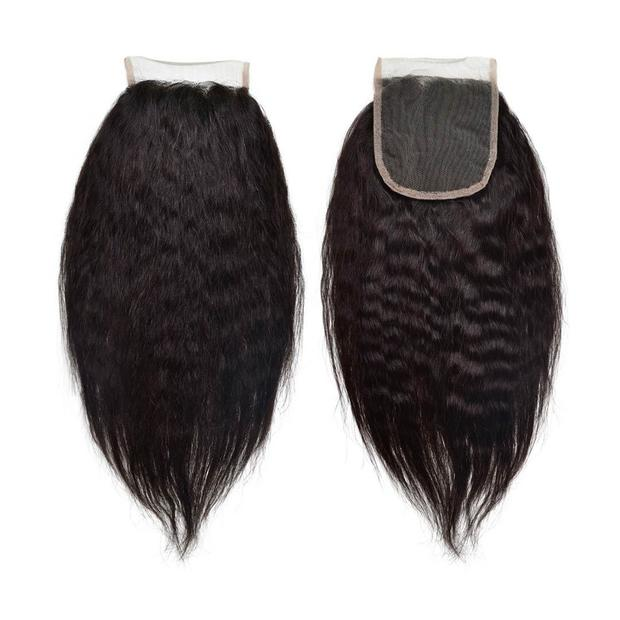 Kinky Straight 5 X 5 Closure 100% Raw Virgin Human Hair Natural Black