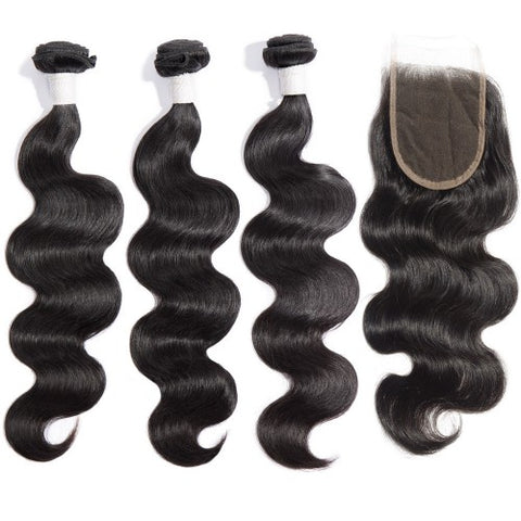 HAIRExecutive 3 Bundles with Closure deal Body Wave 100% Raw Virgin Hair