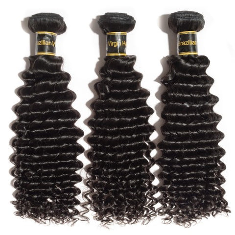 Deep Curly Virgin Indian Hair Natural Black 3 Bundles