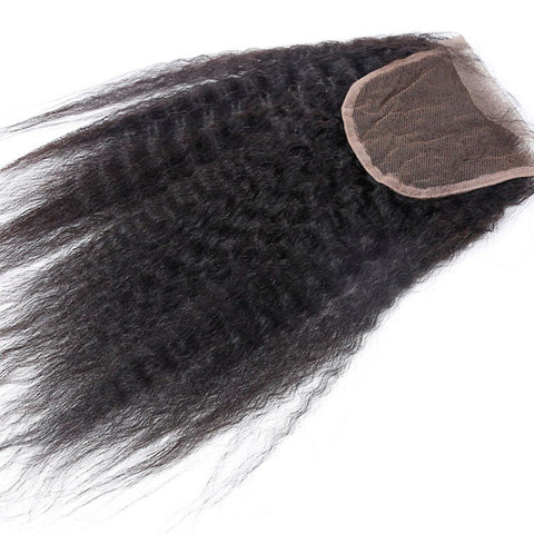 Kinky Straight 4 X 4 Closure 100% Raw Virgin Human Hair Natural Black
