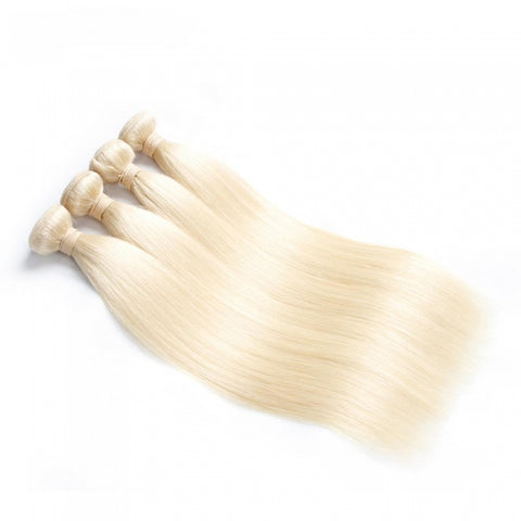 613 Blonde 3 Bundles of Straight Unprocessed Raw Virgin Human Hair